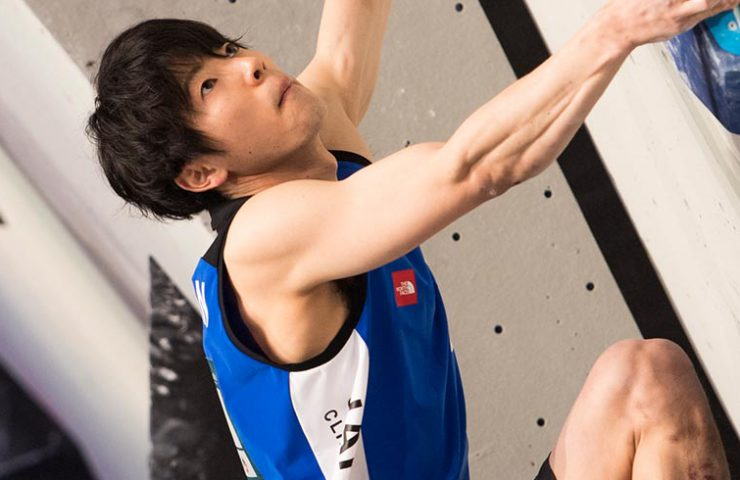 Japanese Kokoro Fujii in qualifying at the Boulder World Cup in Meiringen