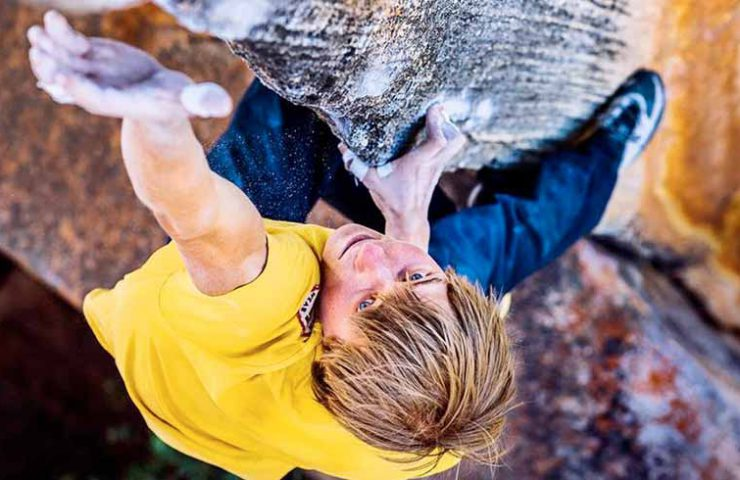 Alexander Megos climbs The Finnish Line in the Rocklands