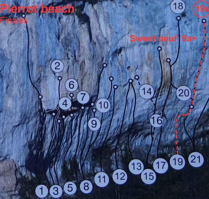 Anak Verhoeven klettert 9a+ in Pierrot Beach - Topo Sweet Neuf 9a+