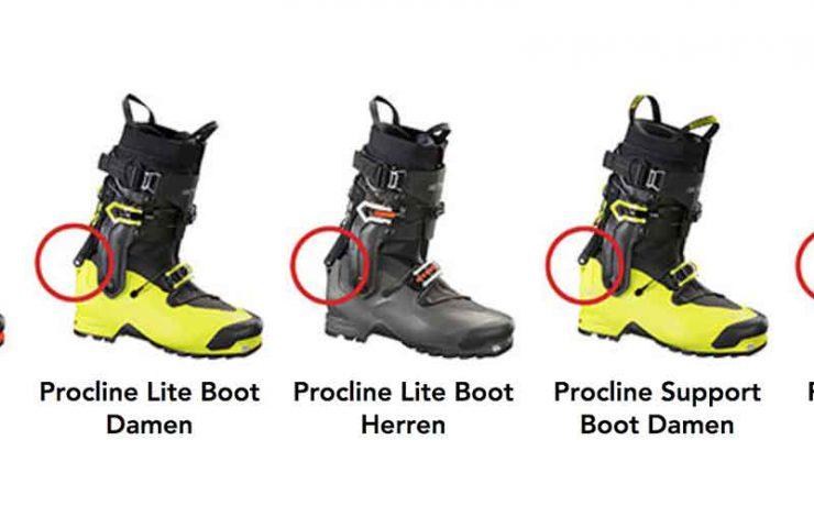 Caída del peligro con las botas de esquí Arcteryx - retiro voluntario