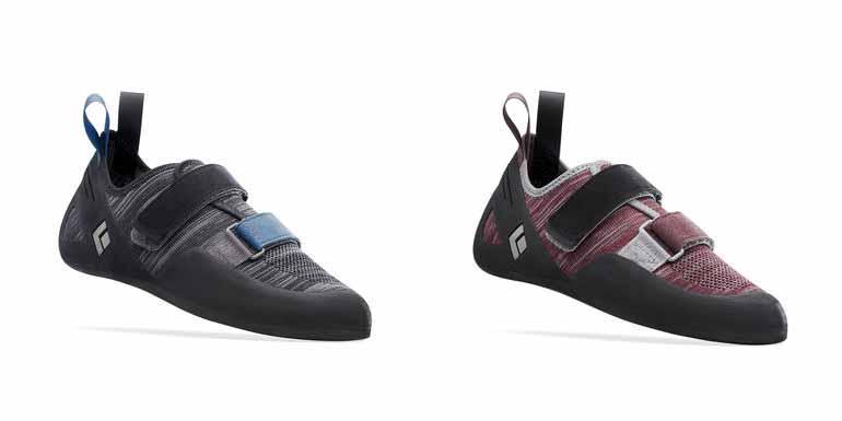 El zapato de escalada Momentum para hombres (izquierda) y damas (derecha)