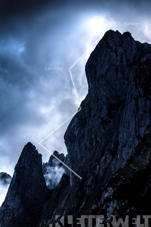 Tour de varios tonos Cassiopeia am Hundstein en las montañas Alpstein