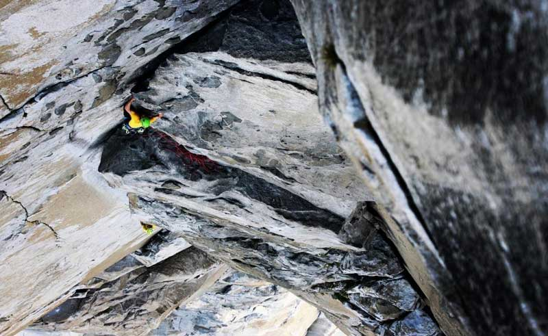 Alex Honnold and Tommy Caldwell in a sea of rock at El Capitan