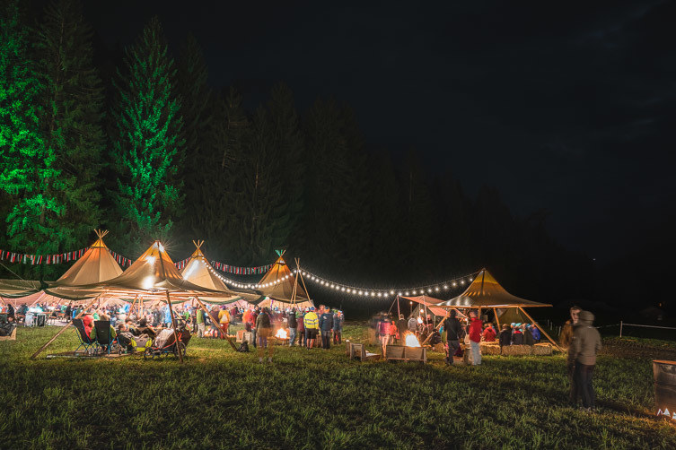 The camp at the Transa Outdoor Festival in Flims Laax