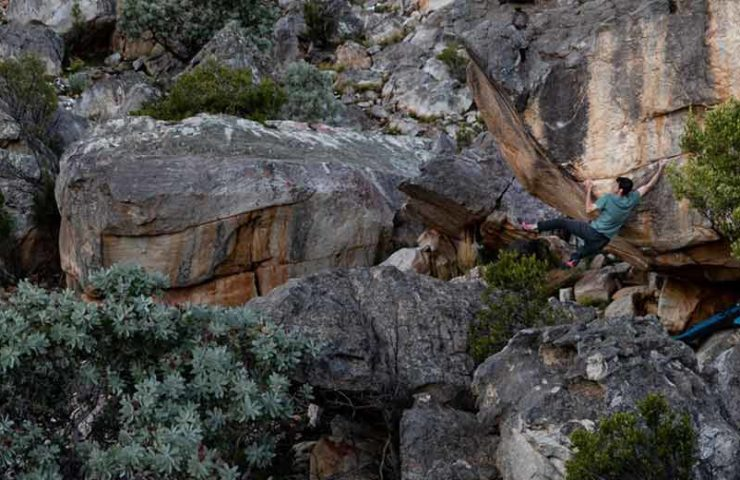 Paul Robinson manages the first ascent of the 8c boulder The Pirate's Code