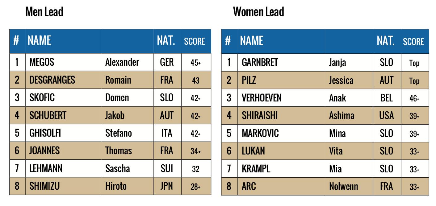 Ranking IFSC World Cup Briancon - France
