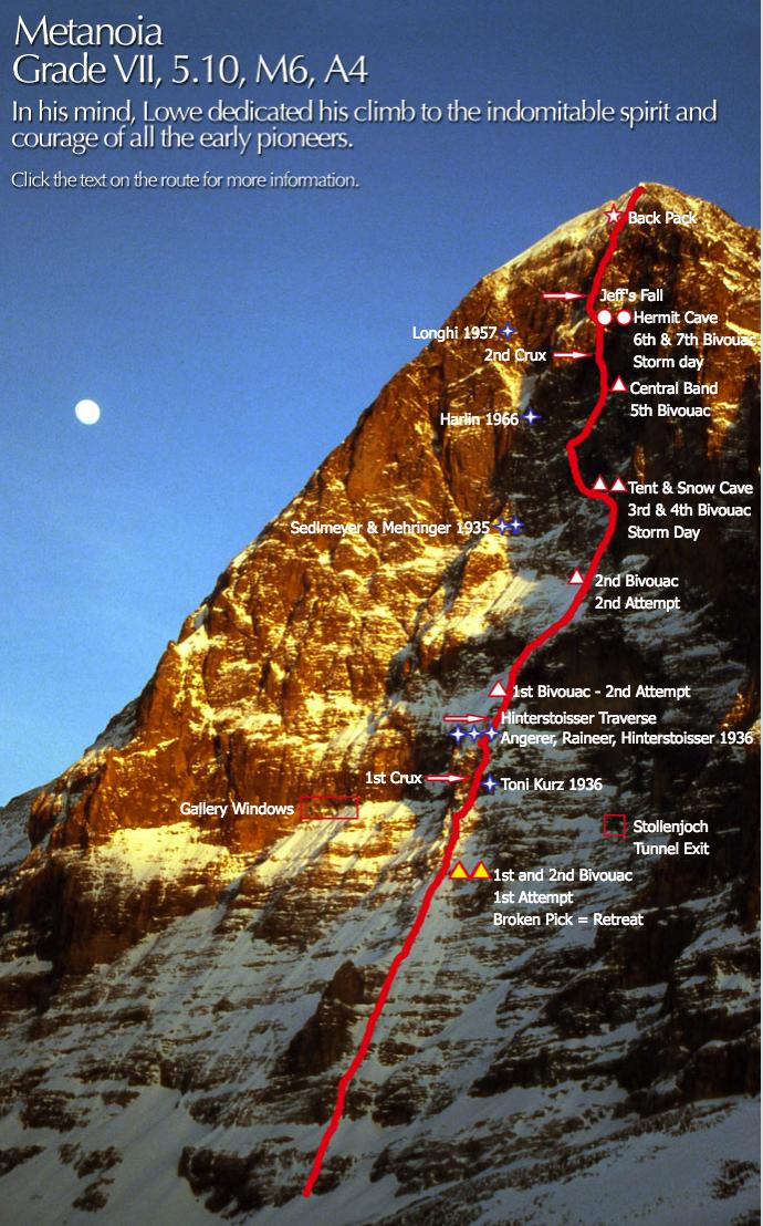 So beging Jeff Lowe die Route Metanoia an der Eiger Nordwand (Bild Jeff Lowe)