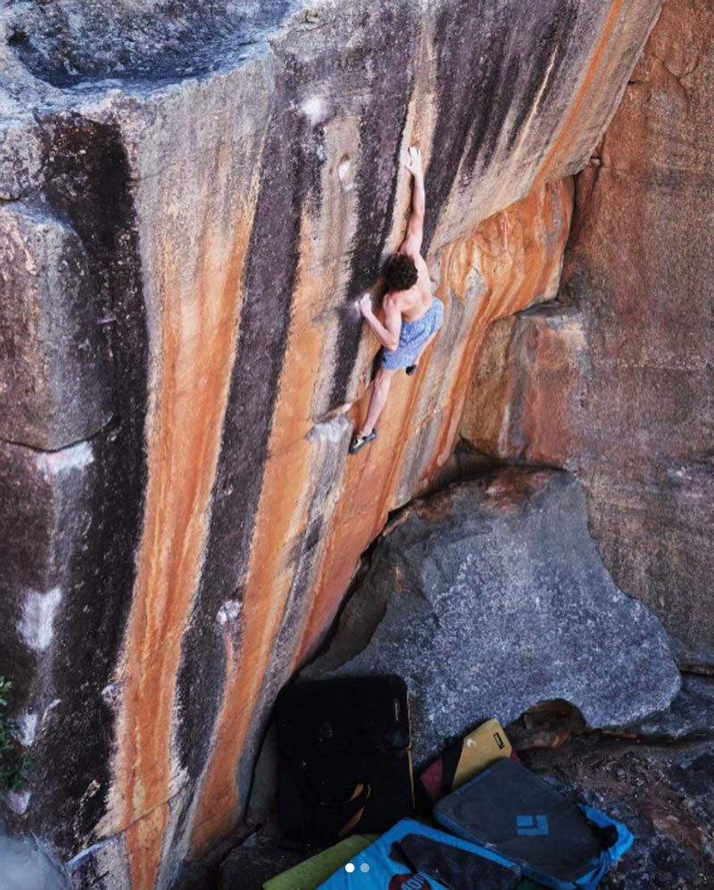 Giuliano Cameroni at the celebration of The Smile (8c) in the Rocklands