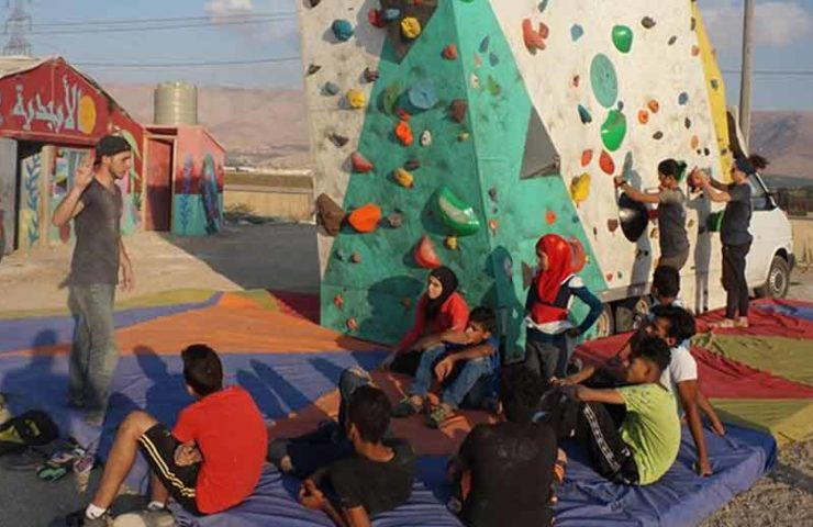 Mobile climbing wall for refugees in Lebanon