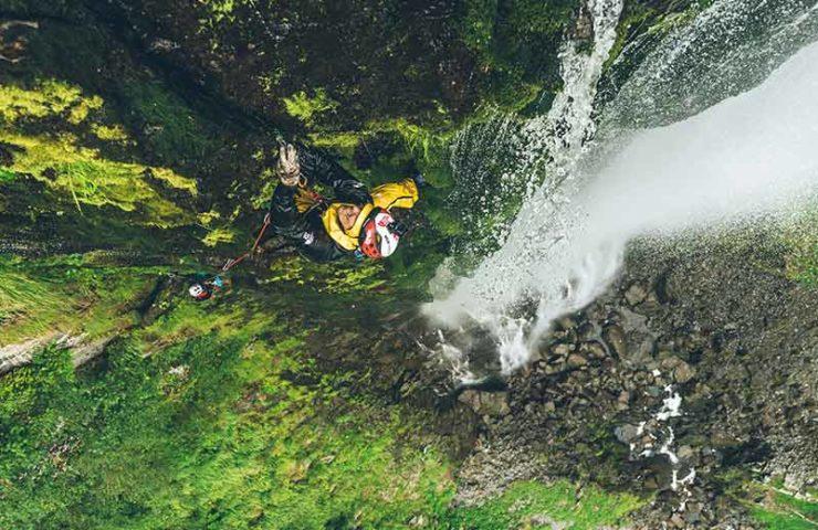 James Pearson and Caroline Ciavaldini climb at Japanese waterfalls