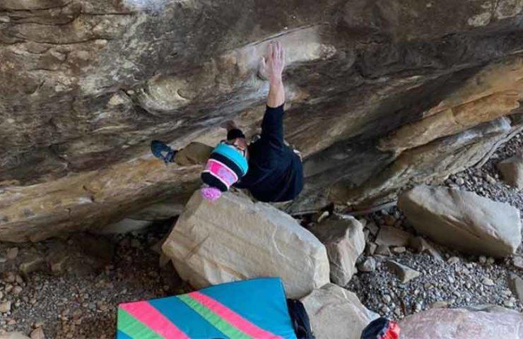 20-year-old Drew Ruana bouldering Sleepwalker (8c +) and The Nest (8c)