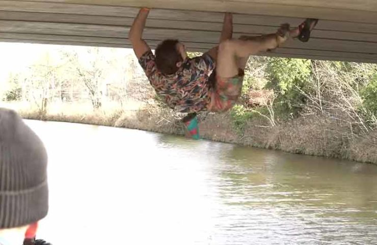 Robbie-Phillips-climbing-plan route along-a Bridge-without-'s Backups (free solo)