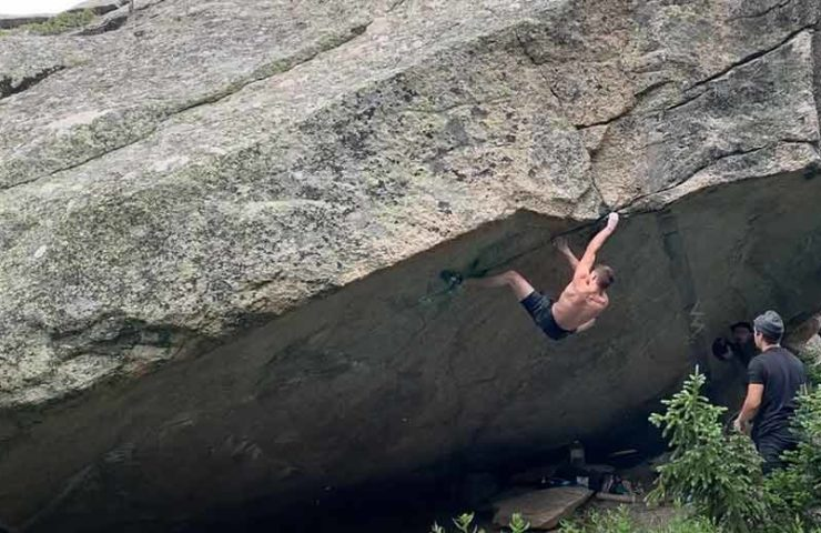 Drew Ruana is doing the 8c + Boulder Box Therapy