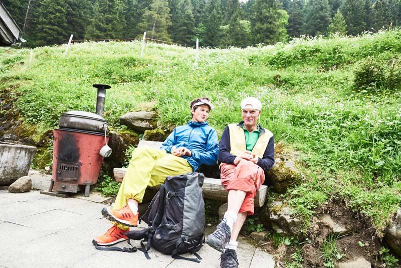 Michi Wohlleben and the first to climb the route, Markus Hutter, on the Rheintaler Samtis Alp. (Photo Frank Kretschmann)