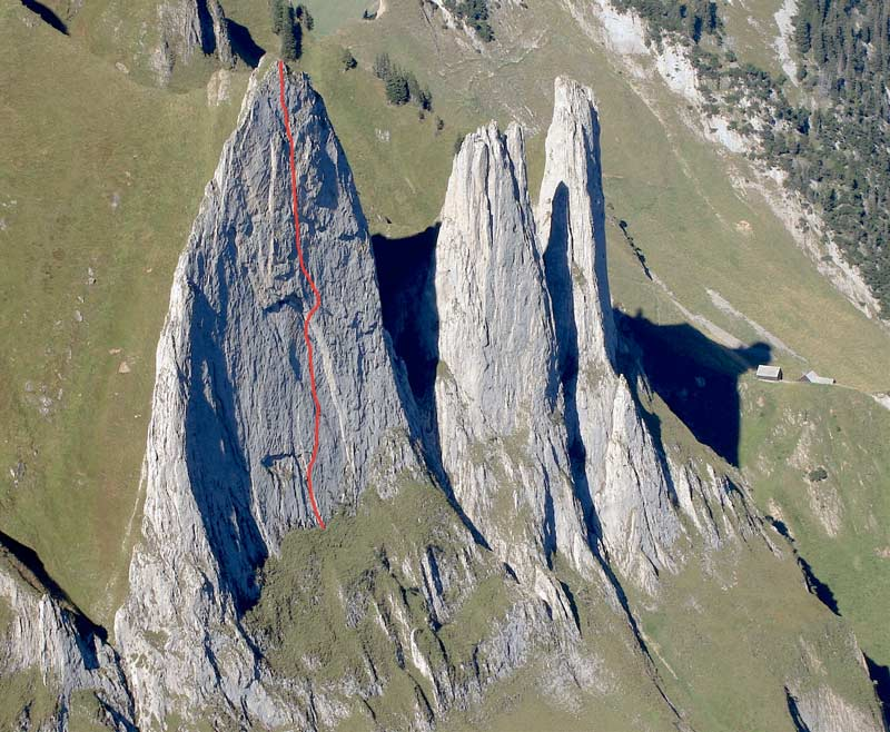 The course of the climbing route Parzival on the western Trinity in the Alpstein. (Photo Frank Kretschmann)
