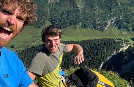 Nils Favre und Siebe Vanhee begehen Mehrseillängenroute Parzival (8b)
