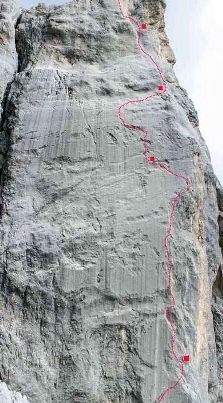 Der Routenverlauf von Kampfzone am Kleinen Turm im Rätikon (Bild Beat Kammerlander)