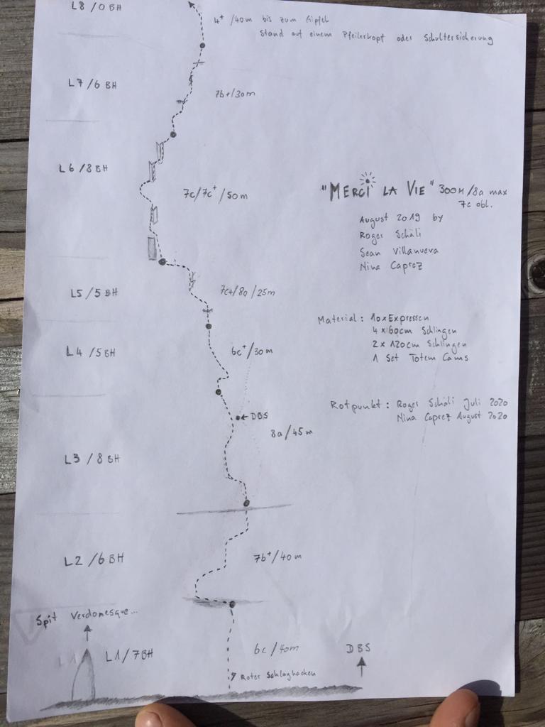 Topo de la ruta de varios largos Merci La Vie. (Créditos: Roger Schäli / Nina Caprez)