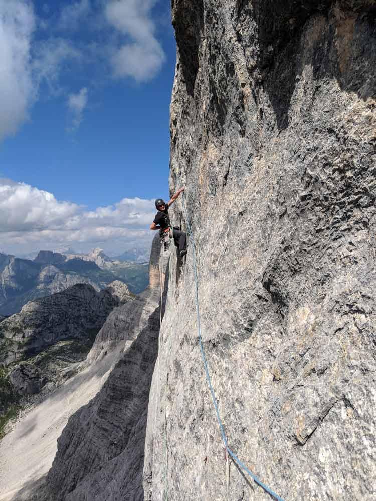 Kletterroute Colonne d'Ercole in den Dolomiten.