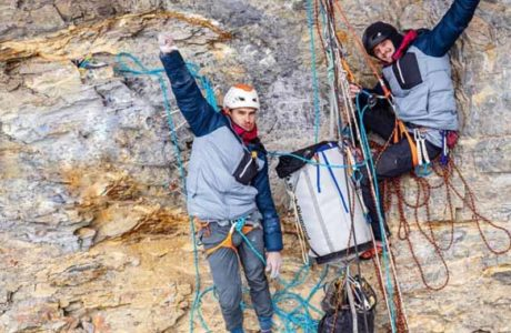Nils Favre and Symon Welfringer climb Paciencia (8a) on the Eiger