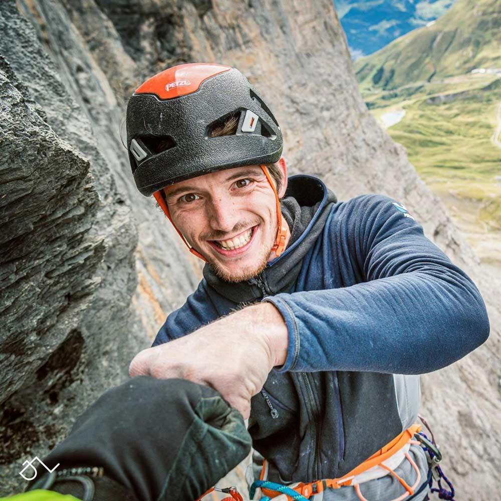 Nils Favre in der Route Paciencia am Eiger. (Bild Damien Largeron)