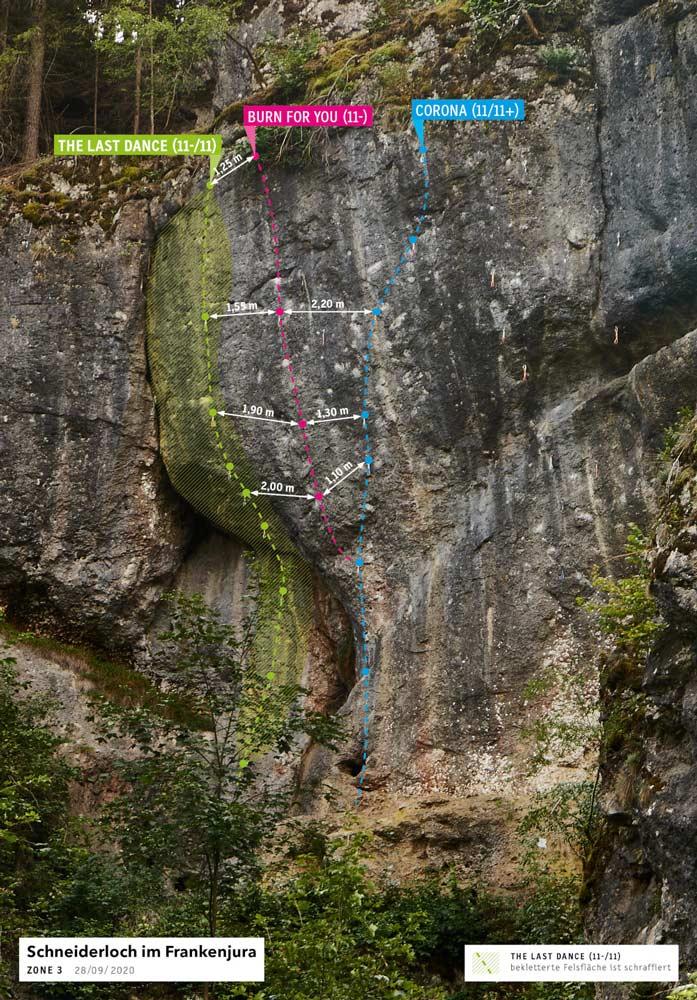 Der Routenverlauf von The Last Dance am Schneiderloch im Frankenjura. (Bild Frankenjura.com)