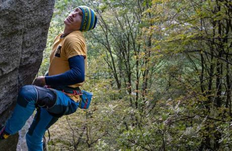 James Pearson wiederholt Trad-Route Tribe (9a?) in Cadarese