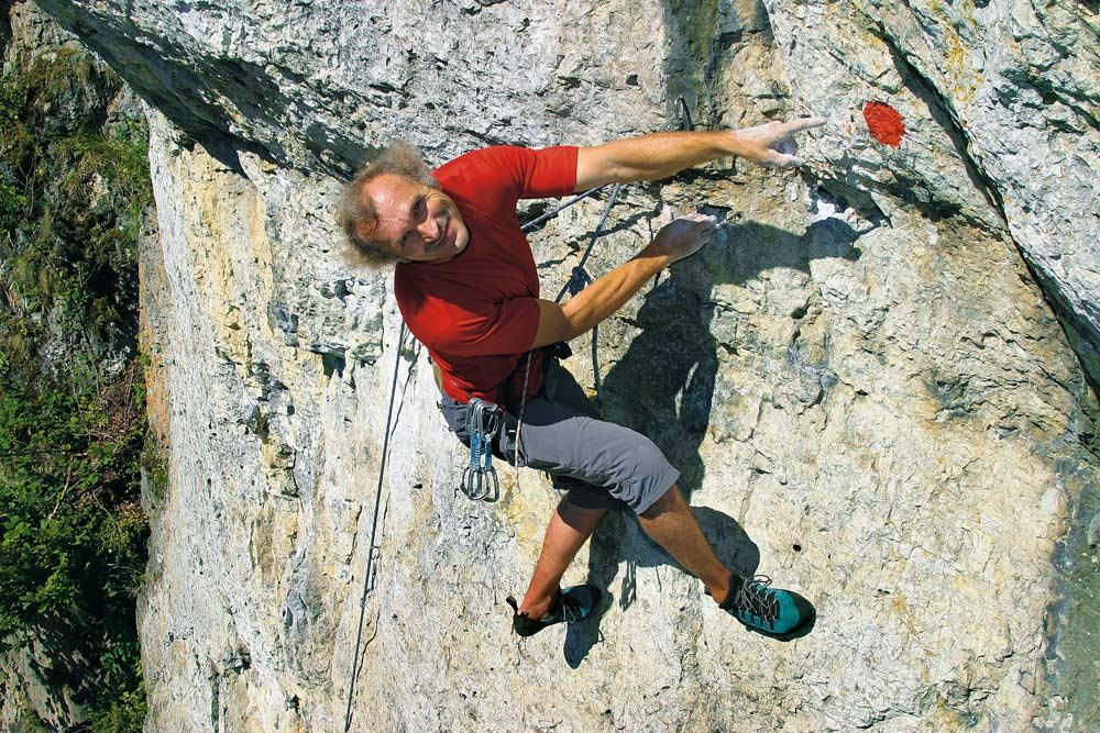 Kurt Albert - Erfinder der Rotpunkt-Kletterei. (Bild: Martin Schepers)