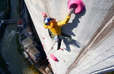 Janja Garnbret & Domen Skofic climb the highest chimney in Europe