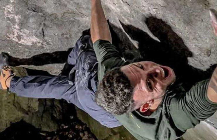 Der Italiener Elias Iagnemma bouldert Gioia (8c+)
