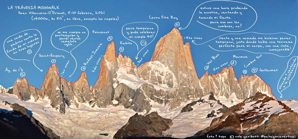 Topo der von Sean Villanueva im Alleingang absolvierten Gesamtüberschreitung mit dem Namen The Moonwalk Traverse. (Bild Patagonia Vertical)