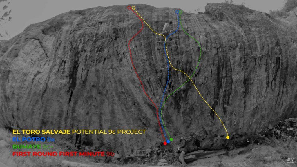 Adam Ondra rates the yellow line, El Toro Salvaje, at 9c. (Image AO Productions)
