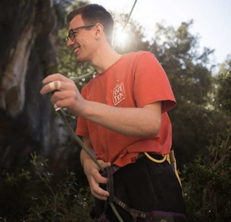 William Bosi after King Capella's successful ascent in Siurana. Image Band of Birds.