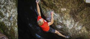An diesem Boulder beisst sich Jakob Schubert die Zähne aus