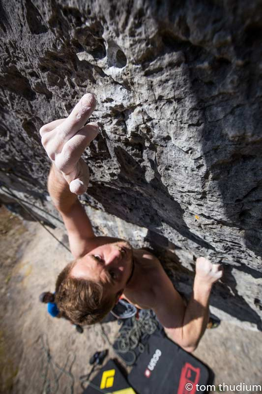 Typical Frankenjura: hole climbing at its best. (Photo Tom Thudium)