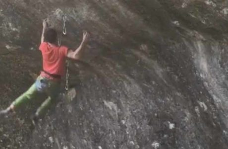Daniel Jung inspecting Unplugged (9a) in the Franconian Jura