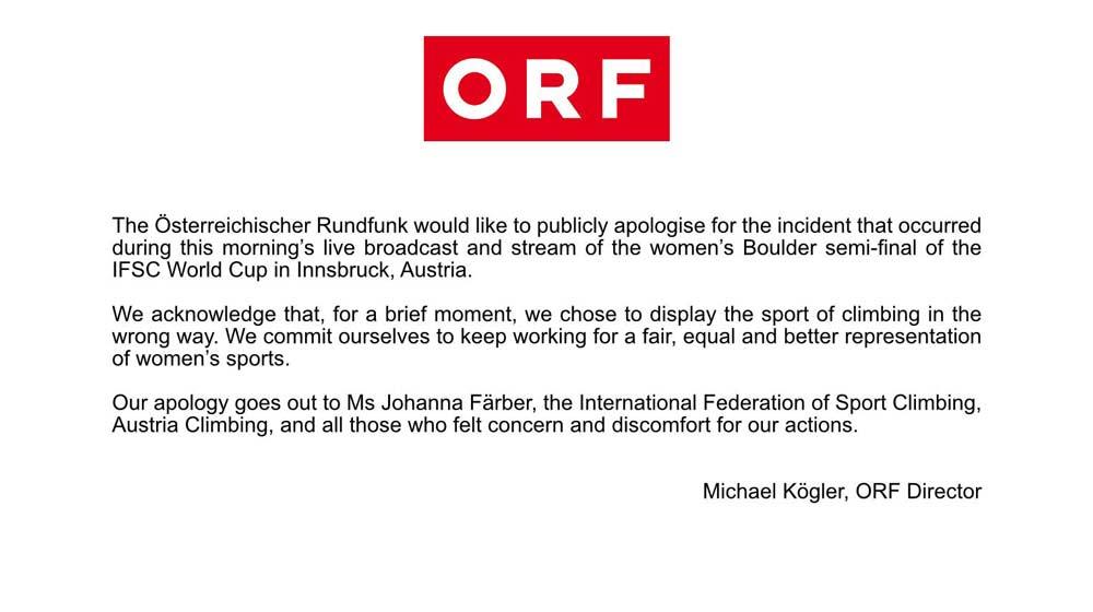 El director de la ORF, Michael Kögler, se disculpa con Johanna Färber y la comunidad de escalada por el incidente durante la transmisión en vivo de la Copa del Mundo de Boulder en Innsbruck.