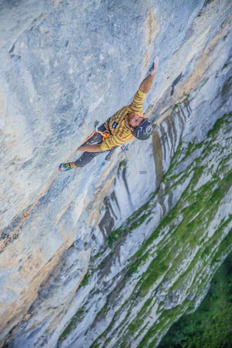 Sieben Vanhee in der schwierigsten Seillänge der Route Fly. (Bild Julia Cassou)