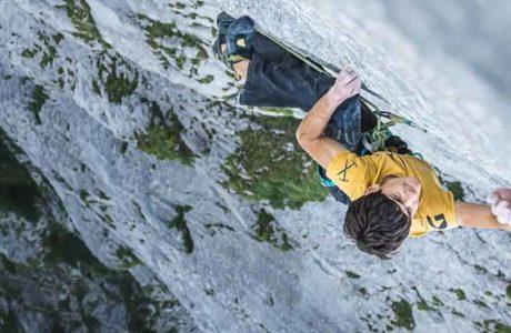 Lukas Sager (16) punktet anspruchsvolle Mehrseillängenroute Yeah Man (8b+, 300m)