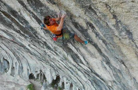Seb Bouin plans climbing route DNA 9c (?)