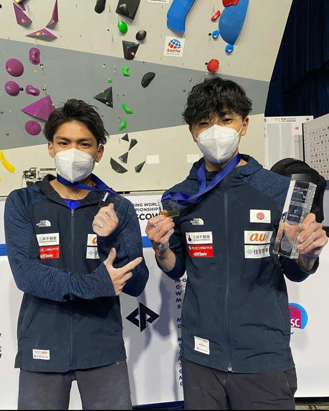 Tomoa Narasaki (silver) and Kokoro Fujii (gold) at the Bouldering World Championships in Moscow. (Photo Nikita Tsarev)