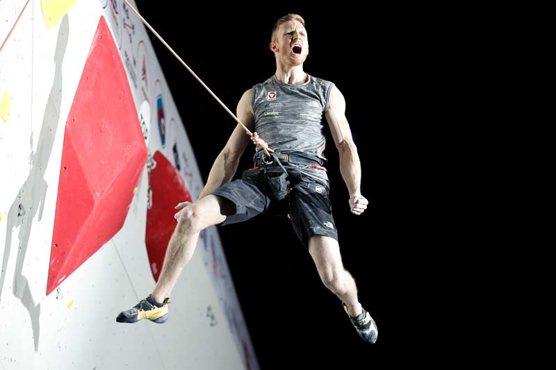 Jakob Schubert from Austria celebrates his victory at the IFSC Climbing World Championships Moscow 2021 Photo: Dimitris Tosidis / IFSC
