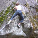 Auch Profis zittern manchmal beim Boulderausstieg