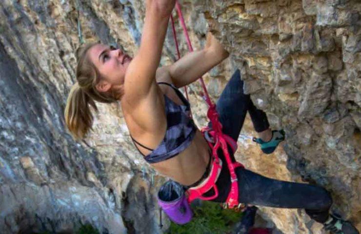 Slovenian Vita Lukan climbs 8b + (Geminis) onsight